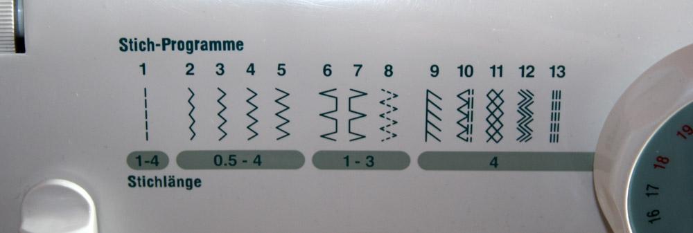Stichtypen bei Nähmaschinen  Stichprogramme -> Nähmaschine Erfindung
